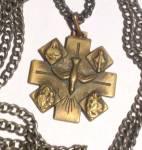 Antique Brass 5 Way Maltese Cross Necklace Virgin Mary Saints