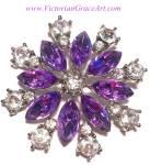 Purple Rhinestone Brooch Pin Costume Jewelry
