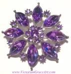Costume Jewelry: Purple Rhinestone Brooch Pin Silver Tone