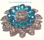 Silver Costume Jewelry: Blue Clear Rhinestone Brooch Pin