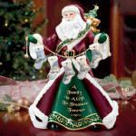 Thomas Kinkade Family Treasure Santa Figurine Birthstone Charms
