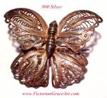 Antique Victorian Filigree .900 Silver Butterfly Brooch Pin