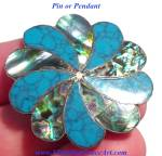 Vintage Turquoise Abalone Shell Pendant Pin Brooch Sterling Silver