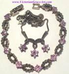 Sterling Silver Marcasite Lavender Amethyst Necklace Bracelet Set