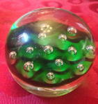 Murano Controlled Bubble Glass Paperweight Made In Italy