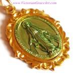 Vintage German Miraculous Medal Goldtone Virgin Mary Jewelry