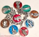 Enamel Saint Medals Charm Bracelet Jude Virgin Mary Michael