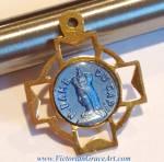 Vintage Italian Blue Enamel Pendant Notre Dame Cross