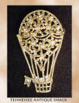 Hot Air Balloon Rhinestone Brooch Pin