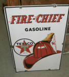 Porcelain Texaco Fire Chief Gasoline Oil Plate Sign