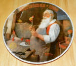 Collector Plate Rockwell Annual Santa Coll Santa In His Workshop