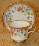 Elizabethan China Cup & Saucer #2907s Floral Gold Trim