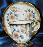 Elizabethan China Cup & Saucer #2908s Floral Gold Trim