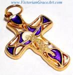 Vintage Blue White Gold Enamel Crucifix Cross Jesus Pendant