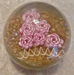 Vintage Paperweight Handblown Glass Pink Flowers With Gold