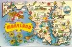 State Map Of Maryland Postcard P33997