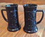Set Of 2 Tiara Black Glass Beer Steins/mugs