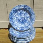 6 Blue + White Sponge Decorated Soup Bowls