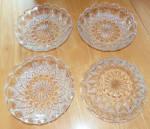 Set Of 4 Cut Crystal Shallow Berry Bowls Starburst, Circles, & Diamond