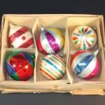 6 Jumbo Poland, West Germany Glass Christmas Ornaments
