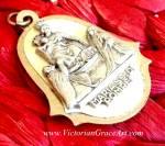 Vintage Ave Maria Hail Virgin Mary Jesus Medal Pendant