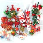 1960s Retro Lot Flocked Christmas Ornaments, Decorations