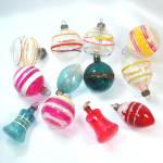 Dozen 1940s Unsilvered Glass Christmas War Ornaments