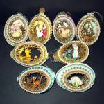 8 Hand Crafted Egg Art Diorama Christmas Ornaments