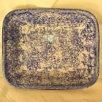 Blue + White Sponge Decorated Baker