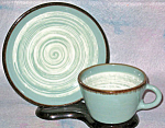 Winfield Gabriel Green White Swirl Cup And Saucer