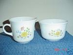 Corning Corelle Meadow Sugar Bowl & Creamer