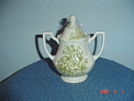 J & G Meakin Green Avondale Covered Sugar Bowl