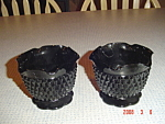 Indiana Glassblack Diamond Point Candle Holders - Pair
