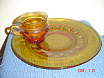 Indiana Glass Tiara Thumbprint Amber Snack Plates Only