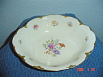 Warwick Gold Scalloped Floral Pattern Oval Bowl