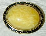 Art Deco Pin - Yellow W Black Enamel