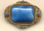 Blue Glass Czech Pin