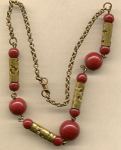 Necklace Of Red & Pierced Tubes