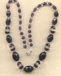 True Purple Glass Necklace W Clear