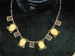 Yellow Bohemian Glass Necklace