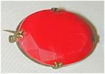 Czech Look Red Opaque Glass Pin