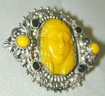 Czech Yellow Glass Egyptian Revial Pin