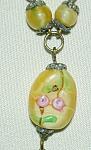 Yellow Czech Beads W Applied Pink