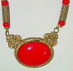 Red Opaque Czech Necklace W Filigree