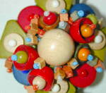 Unusually Detailed Czech Wooden Bead Pin
