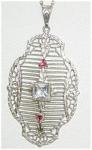 Sterling Deco Filigree Pendant W Jewels