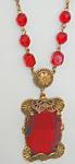 Czech Necklace - Clear Red, Brass