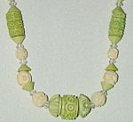 Carved Plastic 30's Beads In Light Green