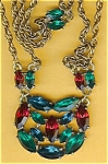 Showy Necklace Of Red, Green & Blue Rhine.