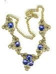 Necklace Of Large Bright Blue Cut Stones